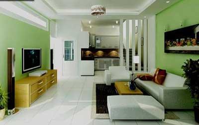 Phối màu phòng khách hợp lý khiến không gian hài hòa và rộng rãi