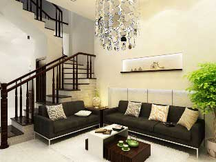 Đèn chùm là một điểm nhấn trang trí cho phòng khách