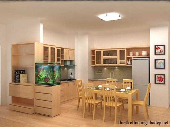 Phòng ăn tạo cảm giác gần gũi sạch sẽ
