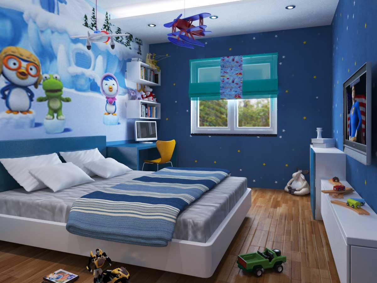 xung quanh giường của bé là những nhân vật quen thuộc kết hợp với tông màu xanh của căn phòng làm