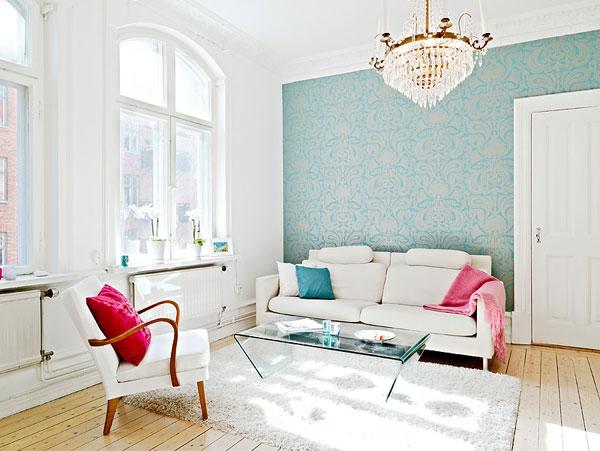 Trang trí phòng khách bằng giấy dán tường