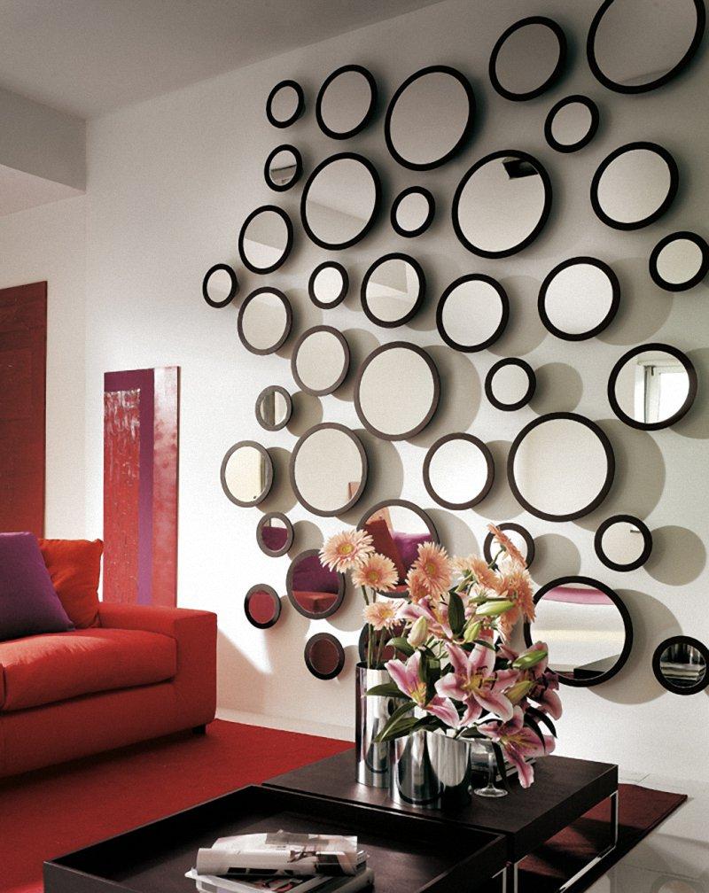 Gương tròn cực ấn tượng bố trí trên tường