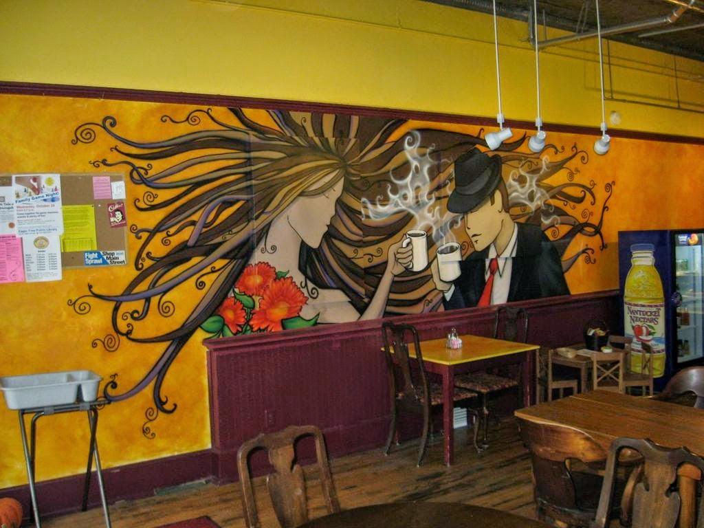 Vẽ trang trí tường quán coffe