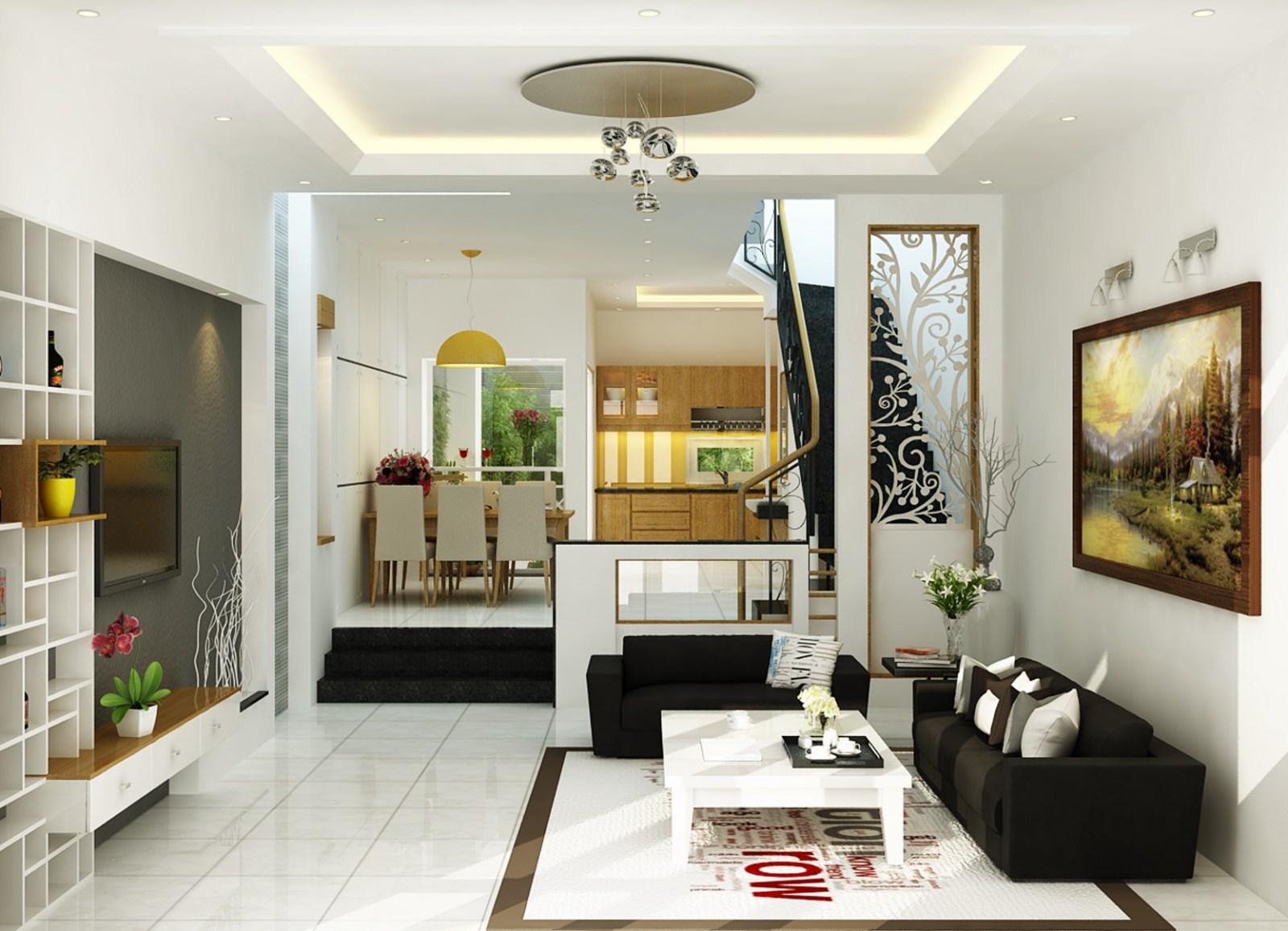 vách ngăn trang trí phòng khách và bếp