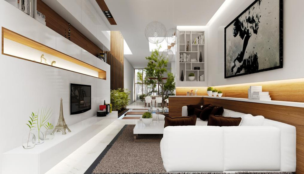 mẫu trang trí phòng khách nhà ống
