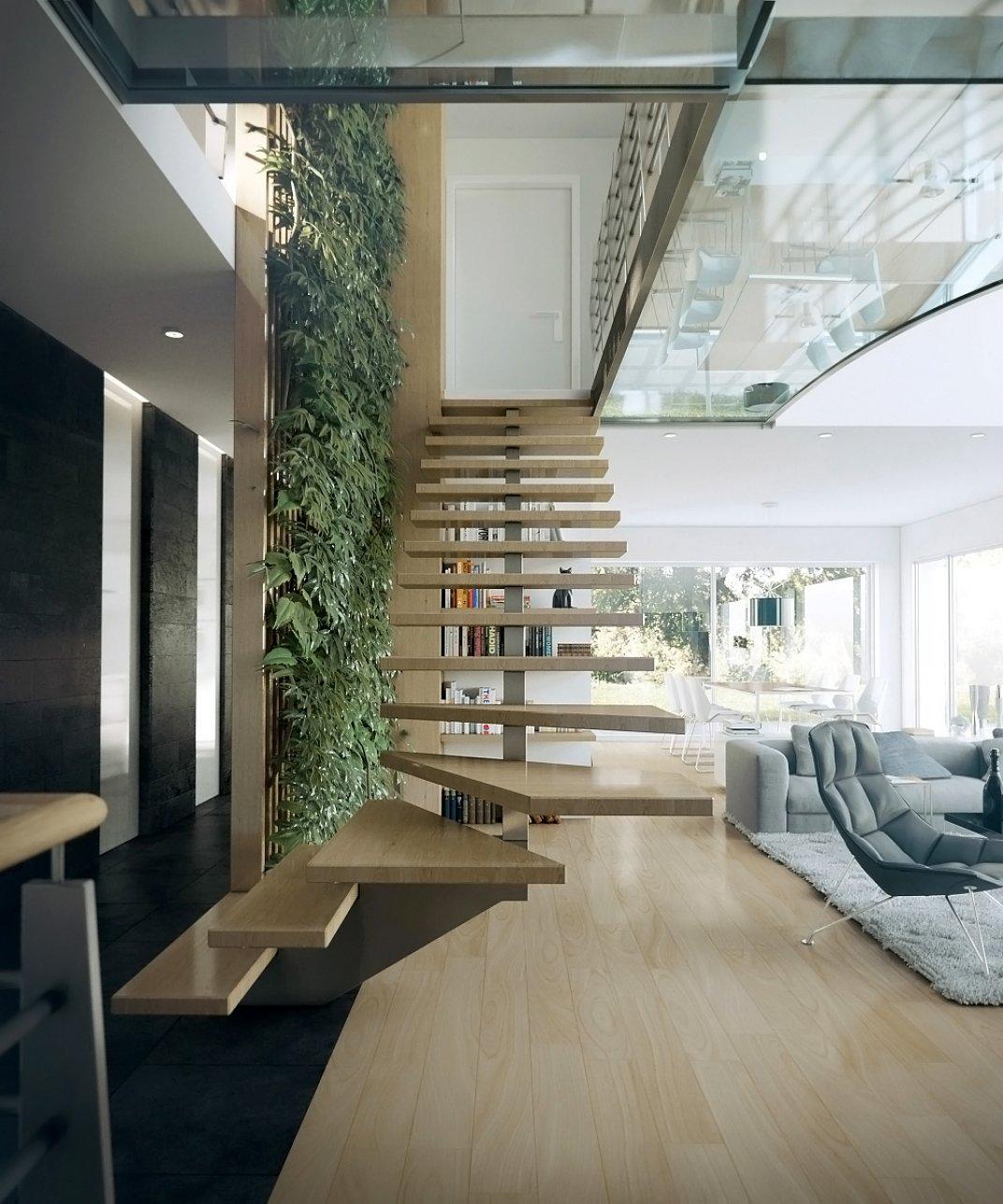 Phòng khách có cầu thang