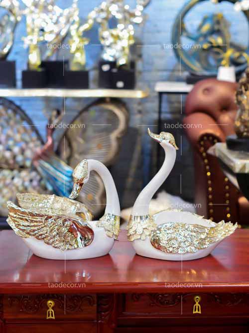 Đôi Thiên Nga Vàng - taodecor.vn trang trí nhà và quà tặng
