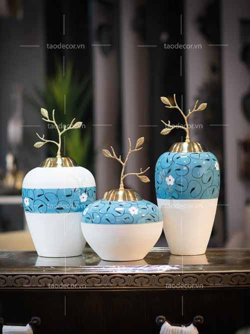 Bộ bình ngọc hoa - taodecor.vn trang trí nhà và quà tặng