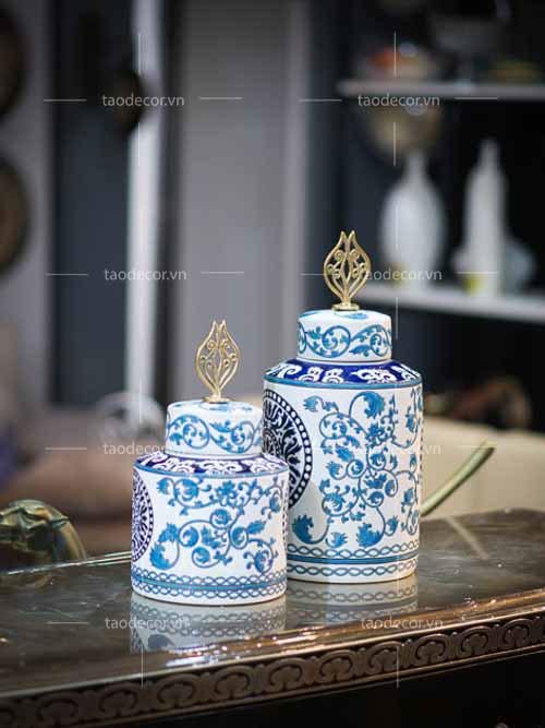 Bộ Bình Lam Ngọc - taodecor.vn trang trí nhà và quà tặng