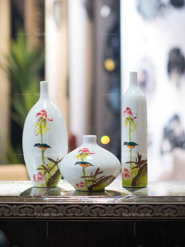 bộ bình hoa sen - taodecor.vn trang trí nhà và quà tặng 2