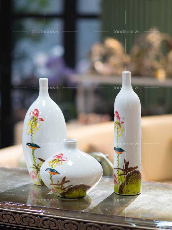 bộ bình hoa sen - taodecor.vn trang trí nhà và quà tặng 1