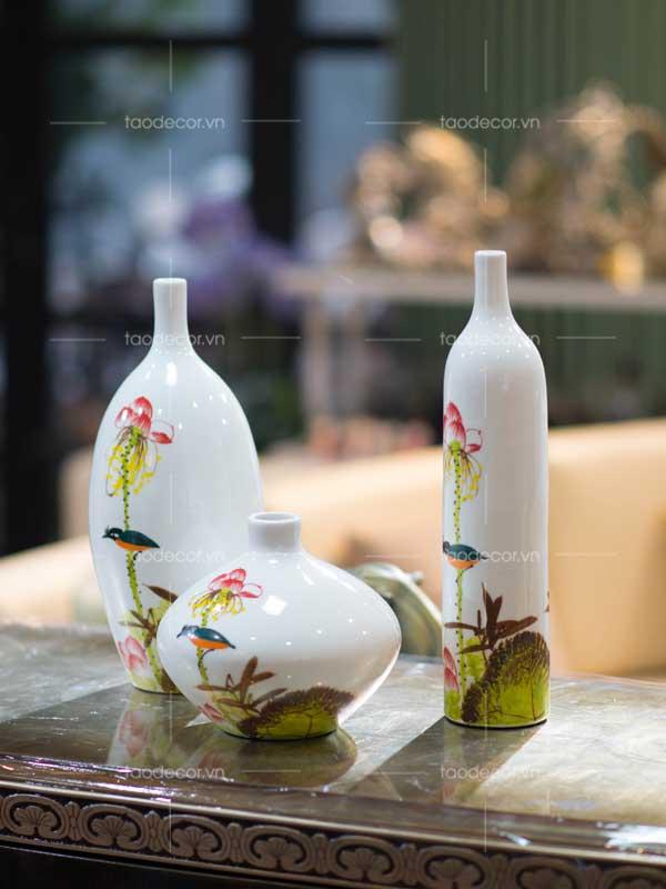 bộ bình hoa sen - taodecor.vn trang trí nhà và quà tặng