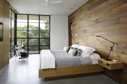 Ấm áp và thân thiện với một bức tường gỗ tròng phòng ngủ