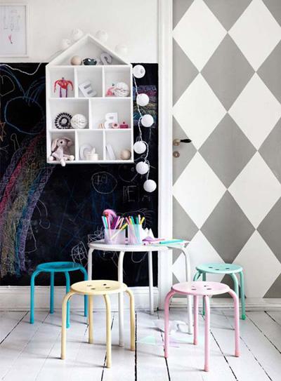 Bố mẹ có thể bố trí một bàn nhỏ để bé có thể ngồi vẽ trên giấy hoặc bảng đen tùy ý.