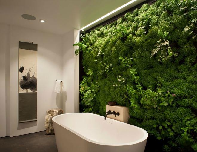 Một chiếc tường cây màu xanh