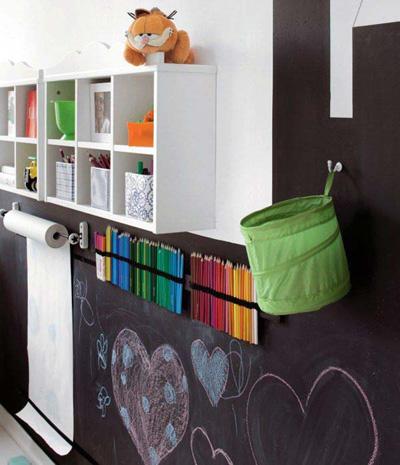 Bất cứ khoảng trống nào trong phòng cũng có thể tận dụng làm bảng đen.
