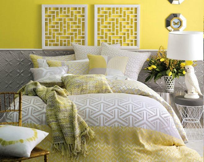 Căn phòng với giường và đệm theo phong cách retro