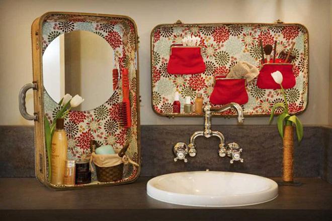 Biến hoá chiếc vali cũ thành đồ dùng trong phòng tắm