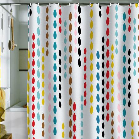Rèm tắm với hình những giọt nước nhiều màu