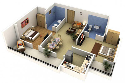 Căn hộ với ban công rộng rãi, thông với phòng ăn và phòng ngủ, khiến cho ngôi nhà trở nên kết nối.