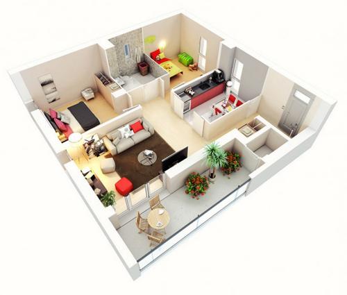 Không gian bếp ăn nhường lại cho những không gian khác, tạo cảm giác rộng rãi
