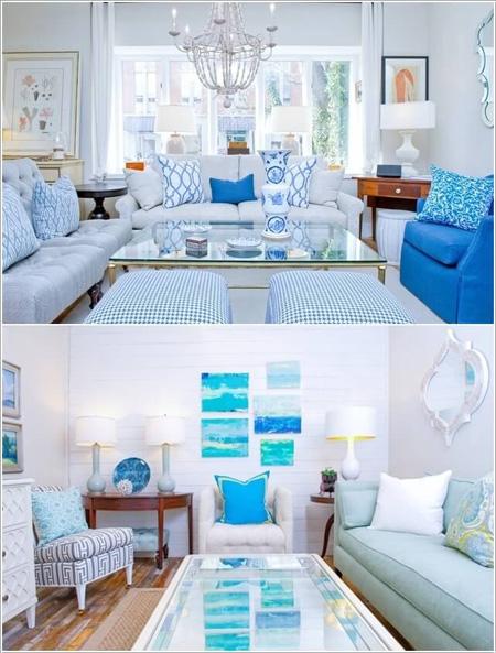 Xanh, trắng làm phòng khách ngôi nhà trở nên sáng sủa, độc đáo