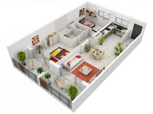 Căn hộ 2 phòng ngủ được nối thông các không gian chung tạo cảm giác rỗng rãi, thoải mái