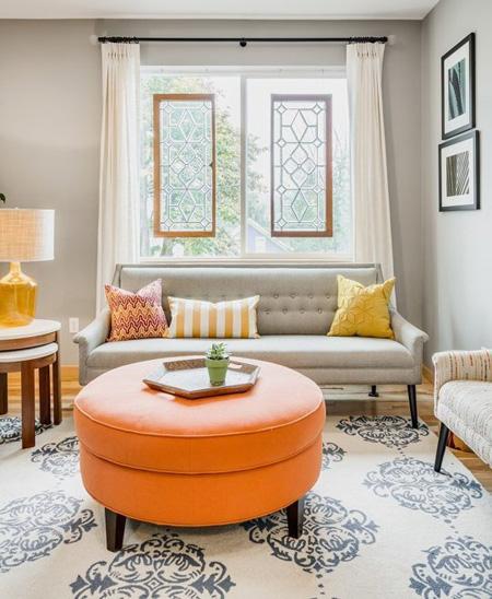 Màu cam chủ đạo cho ngôi nhà
