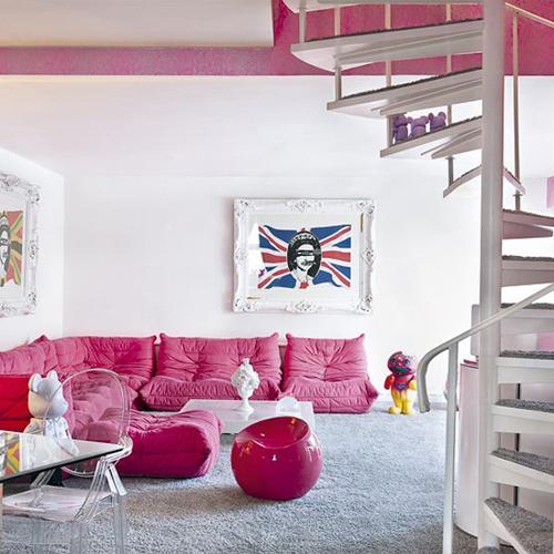 Sofa tone màu hồng đậm